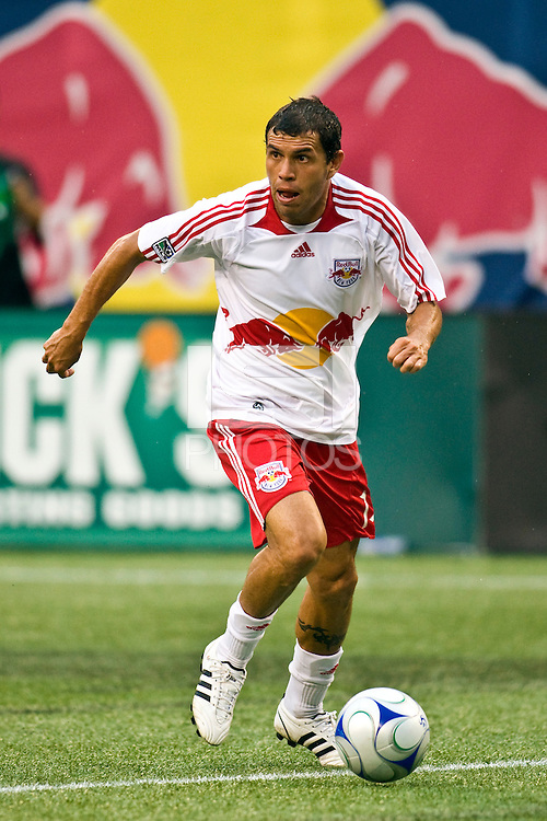 New York Red Bulls midfielder Jorge Rojas (13). The New York Red Bulls defeated D. C. United 4-1 during a Major League Soccer match at Giants Stadium in East Rutherford, NJ, on August 10, 2008.
