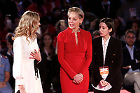 Sharon Stone moved during the ceremony<br /> Roma 02/12/2018. Palazzo dei Congressi. L'attrice Sharon Stone riceve la croce d'oro al merito dalla Croce Rossa Italiana durante il Jump 2018.<br /> Rome July 30th 2018. Actress Sharon Stone receives the Gold Medal of Merit from Italian Red Cross during the event Jump 2018.<br /> Foto Samantha Zucchi Insidefoto