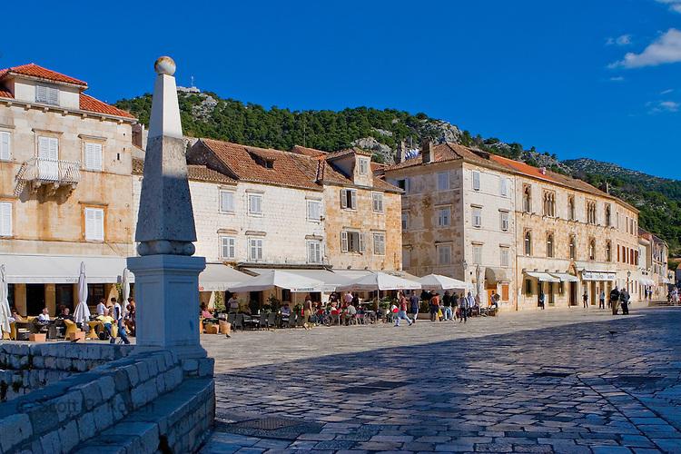 Gothic architecture of the old quarter in Hvar Town, Hvar Island, Croatia