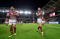 Picture by Allan McKenzie/SWpix.com - 08/09/2017 - Rugby League - Betfred Super League - The Super 8's - Hull FC v Wigan Warriors - KC Stadium, Kingston upon Hull, England - Wigan's Thomas Leuluai and Sam Tomkins thank the fans after their victory over Hull FC.