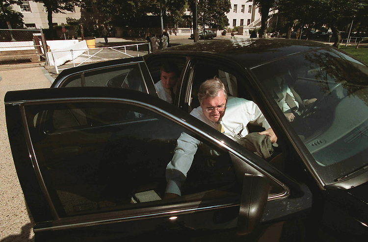 "7/31/01.PATIENTS' BILL OF RIGHTS--Charlie Norwood, R-Ga., and his chief of staff, John Walker, back seat, get in a car at the Rayburn Horseshoe, on their way to the White House to negotiate on the ""patients' bill of rights."" While there, Norwood split with his allies and brokered a deal with President Bush, a deal denounced by now-former allies Greg Ganske, R-Iowa, John D. Dingell, D-Mich., and others..CONGRESSIONAL QUARTERLY PHOTO BY SCOTT J. FERRELL"