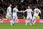 Real Madrid's (L-R) Lucas Vazquez, Alvaro Odriozola, Nacho Fernandez and Marcelo Vieira celebrate goal during Copa del Rey match between Real Madrid and Girona FC at Santiago Bernabeu Stadium in Madrid, Spain. January 24, 2019. (ALTERPHOTOS/A. Perez Meca)