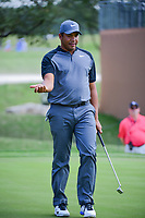 Jhonattan Vegas (VEN) reacts to barely missing his putt on 18  during round 2 of the Valero Texas Open, AT&amp;T Oaks Course, TPC San Antonio, San Antonio, Texas, USA. 4/21/2017.<br /> Picture: Golffile | Ken Murray<br /> <br /> <br /> All photo usage must carry mandatory copyright credit (&copy; Golffile | Ken Murray)