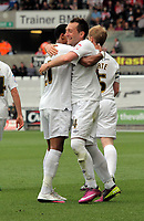 Pictured: Stephen Dobbie (R) of Swansea celebrating his opening goal with Scott Sinclair (L). Saturday 07 May 2011<br /> Re: Swansea City FC v Sheffield United, npower Championship at the Liberty Stadium, Swansea, south Wales.