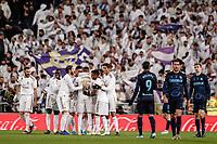23rd November 2019; Estadio Santiago Bernabeu, Madrid, Spain; La Liga Football, Real Madrid versus Real Sociedad; Federico Valverde (Real Madrid)  celebrates his goal which made it 2-1