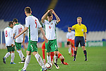 UEFA Under 21 Championship Qualifier - Wales v Bulgaria at the Cardiff City Stadium, UK :<br /> Hristo Popadyin of Bulgaria Under 21's throws the ball down in frustration.