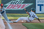 31 July 2016: Vermont Lake Monsters outfielder Luis Barrera slides safely into third during a game against the Connecticut Tigers at Centennial Field in Burlington, Vermont. The Lake Monsters edged out the Tigers 4-3 in NY Penn League action.  Mandatory Credit: Ed Wolfstein Photo *** RAW (NEF) Image File Available ***