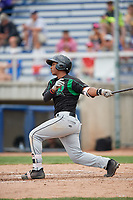 Dayton Dragons shortstop Jeter Downs (2) grounds out during a game against the Beloit Snappers on July 22, 2018 at Pohlman Field in Beloit, Wisconsin.  Dayton defeated Beloit 2-1.  (Mike Janes/Four Seam Images)
