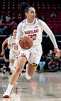 COLLEGE PARK, MD - DECEMBER 28: Blair Watson #22 of Maryland on the attack. during a game between University of Michigan and University of Maryland at Xfinity Center on December 28, 2019 in College Park, Maryland.
