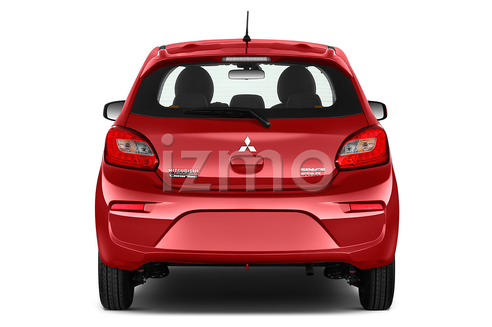 Straight rear view of 2019 Mitsubishi Spacestar Intense 5 Door Hatchback Rear View  stock images