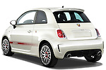 Rear three quarter view of a 2009 Fiat 500 Abarth 3 door hatchback