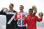 (L-R) Michele Ferrarin (ITA), Andrew Lewis (GBR), Mohamed Lahna (MAR), <br /> SEPTEMBER 10, 2016 - Triathlon : <br /> Men's Individual Paratriathlon PT2 Medal Ceremony<br /> at Fort Copacabana<br /> during the Rio 2016 Paralympic Games in Rio de Janeiro, Brazil.<br /> (Photo by AFLO SPORT)