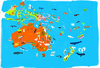Illustrated map of Australasian and Indonesian culture and wildlife