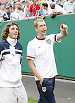 26 May 2006: Frankie Hejduk (USA) (l), who has been replaced on the World Cup squad due to injury with Gregg Berhalter (USA) (r) who joined the team today as an injury replacement for Cory Gibbs (not pictured). The United States Men's National Team defeated their counterparts from Venezuela 2-0 at Cleveland Browns Stadium in Cleveland, Ohio in a men's international friendly soccer game.