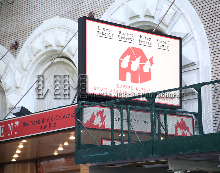 "Theatre Marquee unveiling  for  ""Who's Afraid of Virginia Woolf?"" Starring Laurie Metcalf and Rupert Everett at the Booth Theatre on January 24, 2020 in New York City."