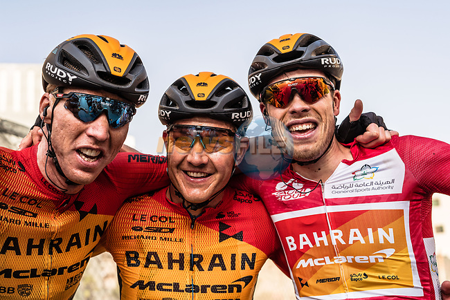 Phil Bauhaus (GER) Bahrain-Mclaren wins the overall general classification pictured with team mates Marcel Sieberg (GER) and Heinrich Haussler (AUS) at the end of Stage 5 of the Saudi Tour 2020 running 144km from Princess Nourah University to Al Masmak, Saudi Arabia. 8th February 2020. <br /> Picture: ASO/Kåre Dehlie Thorstad | Cyclefile<br /> All photos usage must carry mandatory copyright credit (© Cyclefile | ASO/Kåre Dehlie Thorstad)