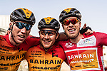 Phil Bauhaus (GER) Bahrain-Mclaren wins the overall general classification pictured with team mates Marcel Sieberg (GER) and Heinrich Haussler (AUS) at the end of Stage 5 of the Saudi Tour 2020 running 144km from Princess Nourah University to Al Masmak, Saudi Arabia. 8th February 2020. <br /> Picture: ASO/Kåre Dehlie Thorstad   Cyclefile<br /> All photos usage must carry mandatory copyright credit (© Cyclefile   ASO/Kåre Dehlie Thorstad)