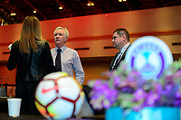 Philadelphia, PA - Thursday January 18, 2018: Tom Sermanni, Matt Beard during the 2018 NWSL College Draft at the Pennsylvania Convention Center.