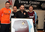 Kevin Hoey, Richard Dooley and Graham Reynols of New Football Team, Drogheda Crescent with Ronan Mooney of Town Centre Barbers...Picture Jenny Matthews/Newsfile.ie
