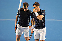 Andy Murray (GB), MARCH 05, 2016 - Tennis : Andy Murray (GB) and Jamie Murray (GB) discuss tactics during the Davis Cup by PNB Paribas , World Group first round doubles match between Great Britain and Japan at The Barclaycard Arena, Birmingham, United Kingdom. (Photo by Rob Munro/AFLO)