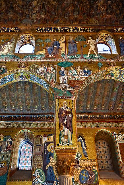 Medieval Byzantine style mosaics of the side aisle arches,  Palatine Chapel, Cappella Palatina, Palermo, Italy