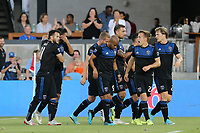 SAN JOSE, CA - AUGUST 24: Chris Wondolowski #8 of the San Jose Earthquakes celebrates scoring with teammates during a Major League Soccer (MLS) match between the San Jose Earthquakes and the Vancouver Whitecaps FC  on August 24, 2019 at Avaya Stadium in San Jose, California.