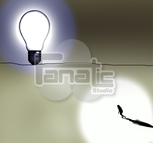 Concept image of a woman walking towards a bright light depicting personal goals