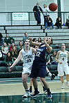 23 February 2018:  Maddie Merritt and Mikaela Eppard during an NCAA women's CCIW Semi-Final basketball game between the Elmhurst Bluejays and the Illinois Wesleyan Titans in Shirk Center, Bloomington IL