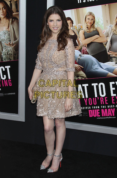 """Anna Kendrick.""""What To Expect When You're Expecting"""" Los Angeles Premiere held at Grauman's Chinese Theatre, Hollywood, California, USA..May 14th, 2012.full length dress clutch bag pink beige embellished jewel encrusted silver .CAP/ADM/RE.©Russ Elliot/AdMedia/Capital Pictures."""