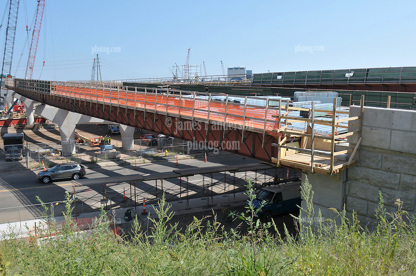 Pearl Harbor Memorial Bridge, New Haven Harbor Crossing Corridor. CT DOT Contract B1 Project No. 92-618 Progress Photography. Northbound West Approaches. Sixth on site photo capture of once every four month chronological documentation. Ramp O and Abutment.