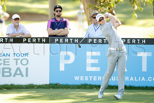 26.02.2016. Perth, Australia. ISPS HANDA Perth International Golf. Joachim B Hansen (DEN) plays off the 13th  tee during day 2.