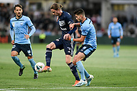 17th November 2019; Jubilee Oval, Sydney, New South Wales, Australia; A League Football, Sydney Football Club versus Melbourne Victory; Josh Hope of Melbourne Victory controls the ball under pressure from Paulo Retre of Sydney