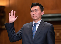 Kenneth Kiyul Lee is sworn-in to testify before the United States Senate Committee on the Judiciary on his nomination to be United States Circuit Judge For The Ninth Circuit on Capitol Hill in Washington, DC on Wednesday, March 13, 2019.<br /> Credit: Ron Sachs / CNP/AdMedia