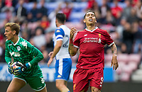 Roberto Firmino of Liverpool rues a missed chance during the pre season friendly match between Wigan Athletic and Liverpool at the DW Stadium, Wigan, England on 14 July 2017. Photo by Andy Rowland.