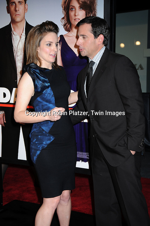 "actress Tina Fey and Steve Carell arriving at The Premiere of ""Date Night on April 6, 2010 at the Ziegfeld Theatre in New York City. The movie stars Tina Fey, Steve Carell, Taraji P Henson, Common, and Leighton Meester."