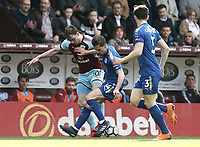 Burnley's Ashley Barnes vies for possession with  Leicester City's Adrien Silva<br /> <br /> Photographer Rich Linley/CameraSport<br /> <br /> The Premier League - Burnley v Leicester City - Saturday 14th April 2018 - Turf Moor - Burnley<br /> <br /> World Copyright &copy; 2018 CameraSport. All rights reserved. 43 Linden Ave. Countesthorpe. Leicester. England. LE8 5PG - Tel: +44 (0) 116 277 4147 - admin@camerasport.com - www.camerasport.com
