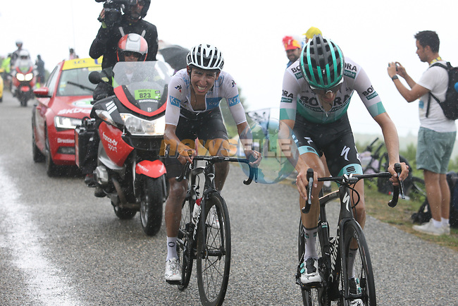 White Jersey Egan Bernal (COL) Team Ineos and Emanuel Buchmann (GER) Bora-Hansgrohe on Prat d'Albis during Stage 15 of the 2019 Tour de France running 185km from Limoux to Foix Prat d'Albis, France. 20th July 2019.<br /> Picture: Colin Flockton   Cyclefile<br /> All photos usage must carry mandatory copyright credit (© Cyclefile   Colin Flockton)