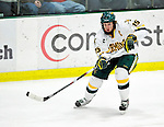 30 November 2009: University of Vermont Catamount defenseman Kevan Miller, a Junior from Los Angeles, CA, in action against the Yale University Bulldogs at Gutterson Fieldhouse in Burlington, Vermont. The Catamounts shut out the Bulldogs 1-0 in a rematch of last season's first round of the NCAA post-season playoff Tournament. Mandatory Credit: Ed Wolfstein Photo