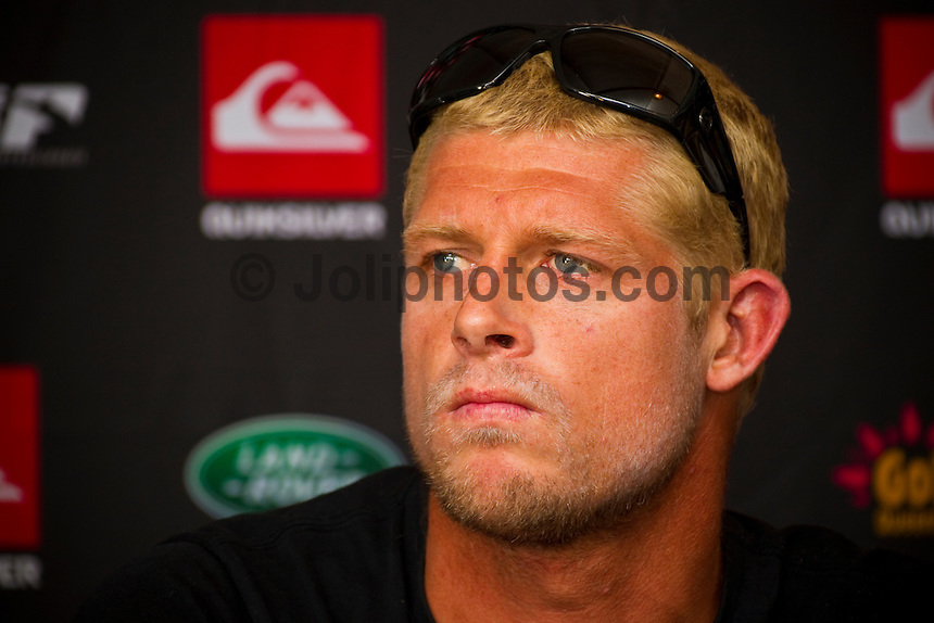 """GOLD COAST, Queensland/Australia (Thursday, February 24, 2011) Mick Fanning (AUS). -The Quiksilver Pro Gold Coast presented by Land Rover is just a few short days away and held a press conference today.   The opening event of the season will be headlined by none other than reigning 10-time ASP World Champion Kelly Slater (USA) who attended the press launch. Also in attendance was four times Women's Champion Stepahnie Gilmore (AUS), Sally Fitzgibbons (AUS), Joel parkinson (AUS) and Mick Fanning (AUS)..Slater, the iconic natural-footer utilized the off-season to recharge in his adopted homes of Hawaii and California, working on equipment and taking advantage of the winter swell season.. .""""I've been hanging in Hawaii and getting boards sorted out in California and having down time,"""" Slater said. """"Surfing myself out most of January was fun."""".Photo: joliphotos.com"""