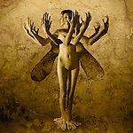 A conceptual image of a naked young woman with wings and many arms and feet