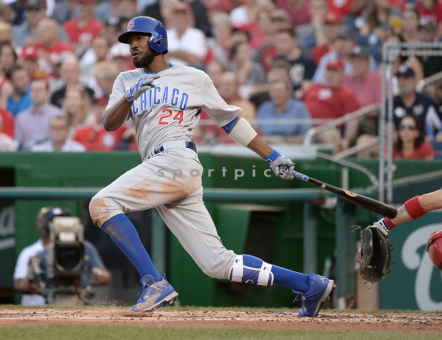 Chicago Cubs Dexter Fowler (24) during a game against the Washington Nationals on June 14, 2016 at Nationals Park in Washington, DC. The Cubs beat the Nationals 4-3.