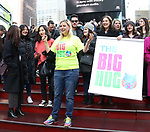 Laura Heywood, aka @BroadwayGirlNYC, attends Big Hug Day: Broadway comes together to spread kindness and raise funds for Children's Hospitals on January 21, 2018 at Duffy Square, Times Square in New York City.