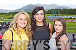 Marie Buckley, Laura Healy and Eilis O'Hurley relaxing between races  at the Killarney Races on Saturday