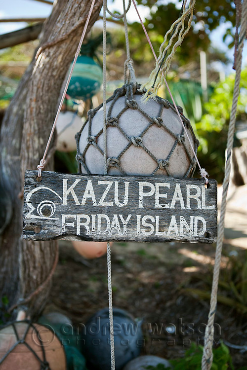 Kazu Pearls at Friday Island.  The pearl farm is one of the last in the Torres Strait, growing and harvesting cultured pearls.  Friday Island, Torres Strait Islands, Queensland, Australia