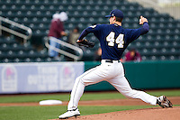 Bryce Smolen (44) of the Oral Roberts Golden Eagles delivers a pitch during a game against the Missouri State Bears on March 27, 2011 at Hammons Field in Springfield, Missouri.  Photo By David Welker/Four Seam Images