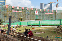 ETHIOPIA Addis Ababa, AU African Union building, construction of extension AFECC African Union Integrated Service Center, build by chinese construction company with China Aid / AETHIOPIEN, Addis Abeba, Gebaeude der AU Afrikanischen Union, Erweiterungsbau AFECC durch chinesische Baufirma mit Hilfe von China Aid