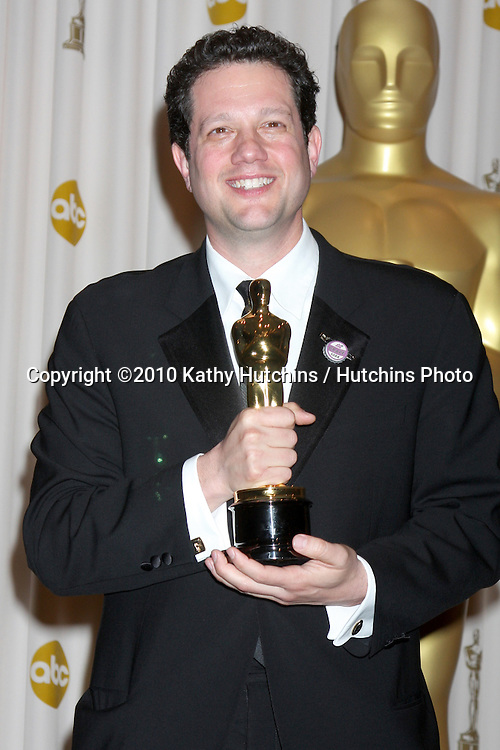 Michael Giacchino celebrates his Oscar for Achievement in Music (Original Score) for 'Up' .in the Press Room of the 82nd Academy Awards.Kodak Theater.Los Angeles, CA.March 7, 2010.©2010 Kathy Hutchins / Hutchins Photo....