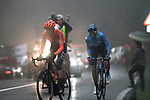 Carlos Verona (COL) Movistar and Alessandro De Marchi (ITA) CCC Team from the breakaway in the dark fog on the category 3 climb over Zaratoma during another wet Stage 4 of the Tour of the Basque Country 2019 running 163.6km from Vitoria-Gasteiz to Arrigorriaga, Spain. 11th April 2019.<br /> Picture: Colin Flockton | Cyclefile<br /> <br /> <br /> All photos usage must carry mandatory copyright credit (&copy; Cyclefile | Colin Flockton)