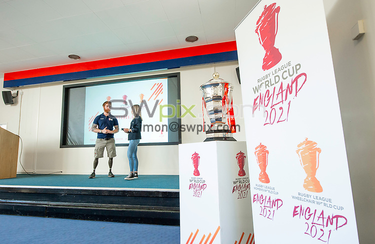 Picture by Allan McKenzie/SWpix.com - 14/06/2018 - Commercial - Rugby League - Rugby League World Cup 2021 Ambassador Unveil, Marne Barracks, Catterick, England - James Simpson is unveiled as one of the Rugby League World Cup 2021 ambassador's by Rachel Stringer.