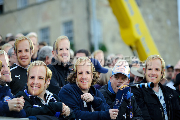 Bath supporters in the crowd wear Nick Abendanon masks on the occasion of his final home appearance for the club. Aviva Premiership match, between Bath Rugby and Northampton Saints on May 2, 2014 at the Recreation Ground in Bath, England. Photo by: Rogan Thomson / Onside Images